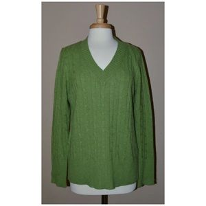 🆕 LOFT XL V-neck Cable Knit Sweater - Green
